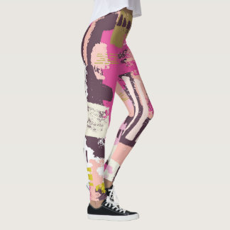 Pink & Plum Abstract Paint Leggings