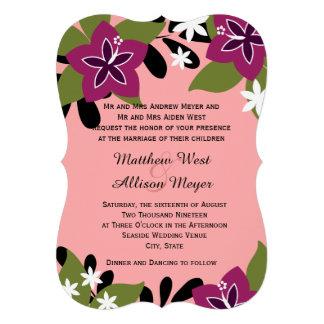 Pink Plum Tropical Floral Wedding Custom Invite