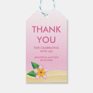 Pink Plumeria Flower Beach Wedding Thank You Gift Tags