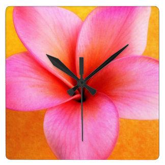 Pink Plumeria Frangipani Hawaii Flower Hawaiian Wall Clock