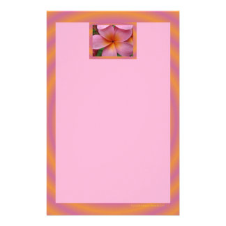 Pink Plumeria Frangipani Tropical Flower Stationer Personalized Stationery