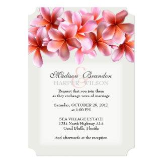 Pink Plumeria Light Gray Tropical Wedding Invites