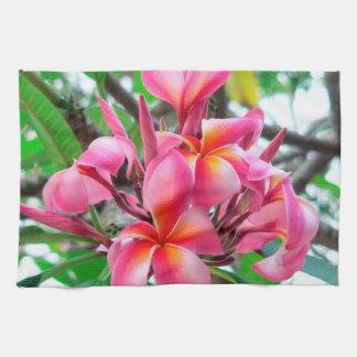 Pink Plumeria or Frangipani flower Tea Towel