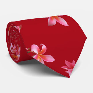Pink Plumeria Red Tropical Floral Pattern Tie