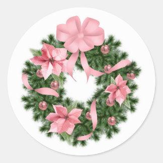 Pink Poinsetta Wreath Round Sticker