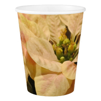 Pink Poinsettia Christmas Party Paper Cups
