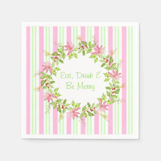 Pink Poinsettia Wreath with Stripes Paper Napkin