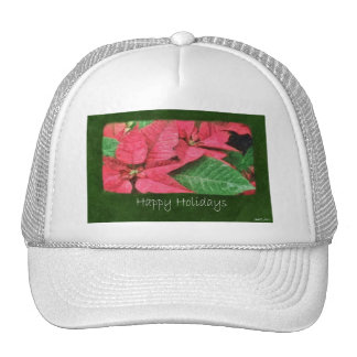Pink Poinsettias 4 Painterly - Happy Holidays Cap