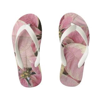 Pink Poinsettias Kid's Thongs