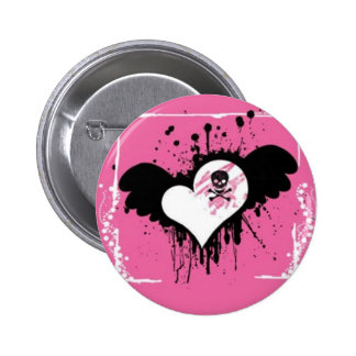 Pink Poisoned Heart Button