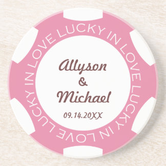 Pink poker chip lucky in love wedding anniversary coaster