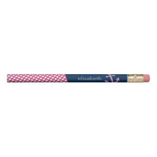 Pink Polka Dot Anchor with Navy Custom Name Pencil