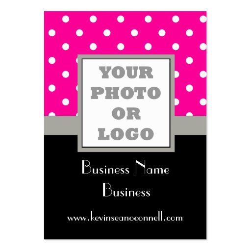 Pink polka dot and logo business cards