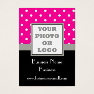 Pink polka dot and logo business card
