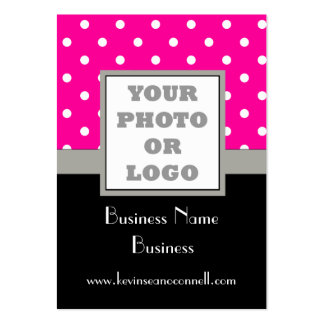 Pink polka dot and logo pack of chubby business cards