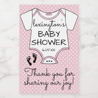 Pink Polka Dot Baby Shower Guest Favor Food Label