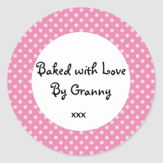 Pink Polka dot 'baked by Granny' sticker