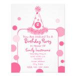 Pink Polka Dot Birthday Party Hat Invite
