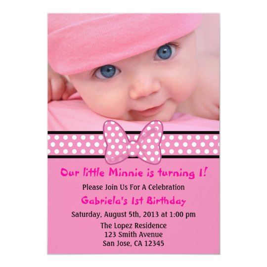 Pink Polka Dot Bow Invitation