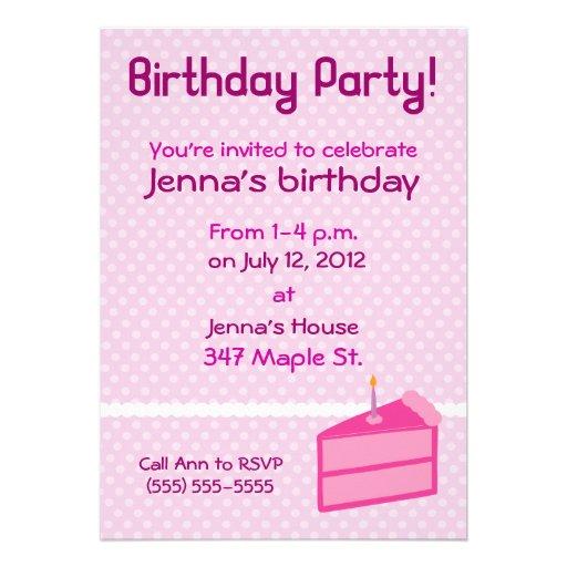 Pink Polka Dot Cake Birthday Party Invitation
