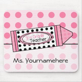 Pink Polka Dot Crayon 3rd Grade Teacher Mousepad
