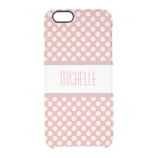 Pink Polka Dot Custom Name Clear iPhone 6/6S Case