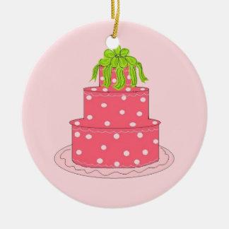 Pink Polka Dot Designer Cake Ceramic Ornament