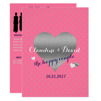 Pink Polka Dot Elegant Wedding Program Card