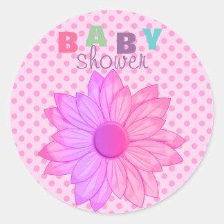 Pink Polka Dot & Flower Baby Shower Sticker/seal Round Sticker