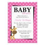 Pink Polka Dot Giraffe Baby Shower Invitations