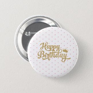 Pink Polka Dot Happy Birthday Pin