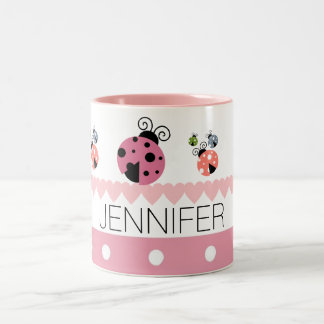 Pink Polka Dot Heart Ladybug Custom Name Two-Tone Coffee Mug
