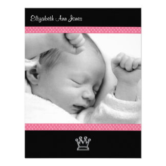 Pink Polka Dot on Black Baby Girl Announements Announcements