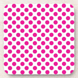 Pink Polka Dot on White (Large) Coaster