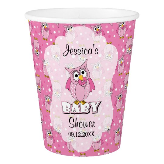 Pink Polka Dot Owl Baby Shower Theme Paper Cup