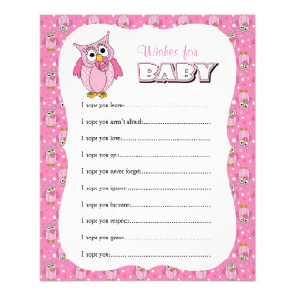 Pink Polka Dot Owl Baby Shower - Wishes Flyer