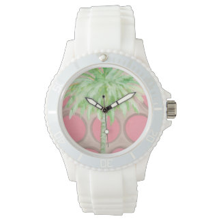 Pink Polka Dot Palm Tree Watch