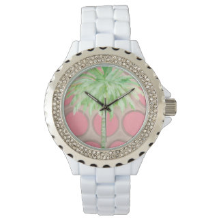 Pink Polka Dot Palm Tree Watch