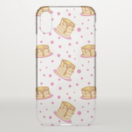 Pink Polka Dot Pancakes Pattern Clear iPhone X Case