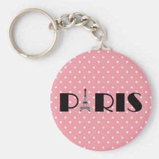 Pink Polka Dot Paris Eiffel Tower Basic Round Button Key Ring