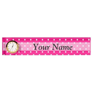 Pink polka dot pattern nameplate
