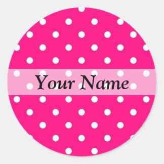 Pink polka dot pattern round sticker