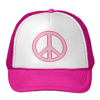 Pink Polka Dot Peace Trucker Hat