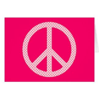 Pink Polka Dot Peace Card