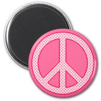 Pink Polka Dot Peace Magnet