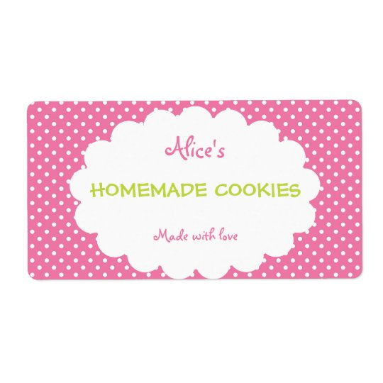 Pink Polka Dot Personalised Homemade Cookies