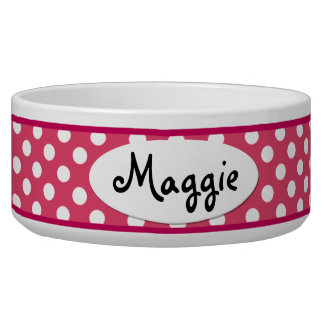 Pink Polka Dot Personalized Ceramic Dog Bowl