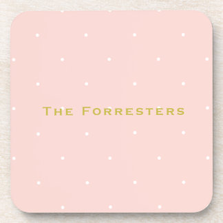 Pink Polka Dot Personalized Drink Coasters (6)