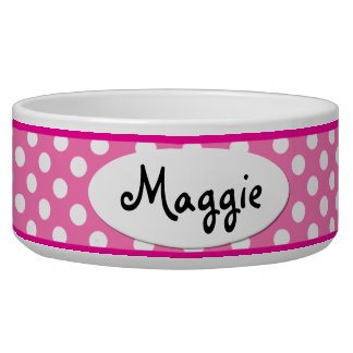 Pink Polka Dot Personalized Small Dog Bowl