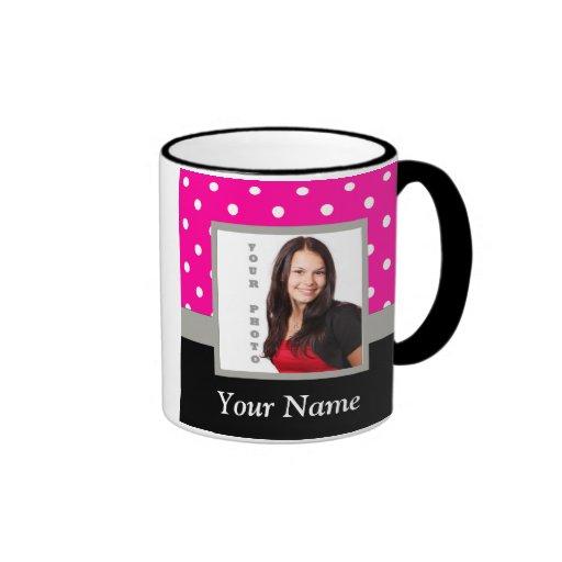 Pink Polka dot photo template Coffee Mugs